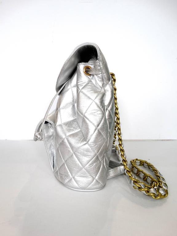 Rare 1994 Chanel Silver Metallic Backpack Bag For Sale 2