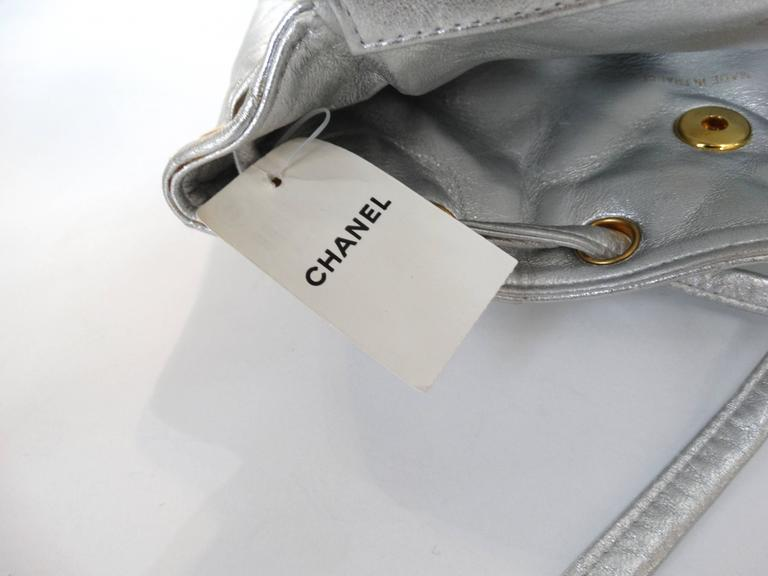 Rare 1994 Chanel Silver Metallic Backpack Bag For Sale 4