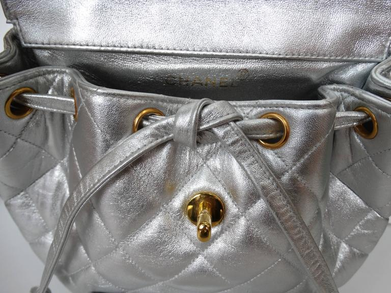 Women's or Men's Rare 1994 Chanel Silver Metallic Backpack Bag For Sale