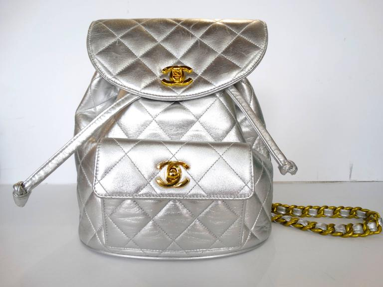 Rare 1994 Chanel Silver Metallic Backpack Bag In New Never_worn Condition For Sale In Scottsdale, AZ