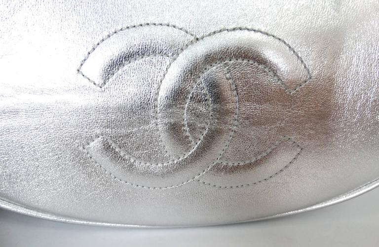 Rare 1994 Chanel Silver Metallic Backpack Bag For Sale 3