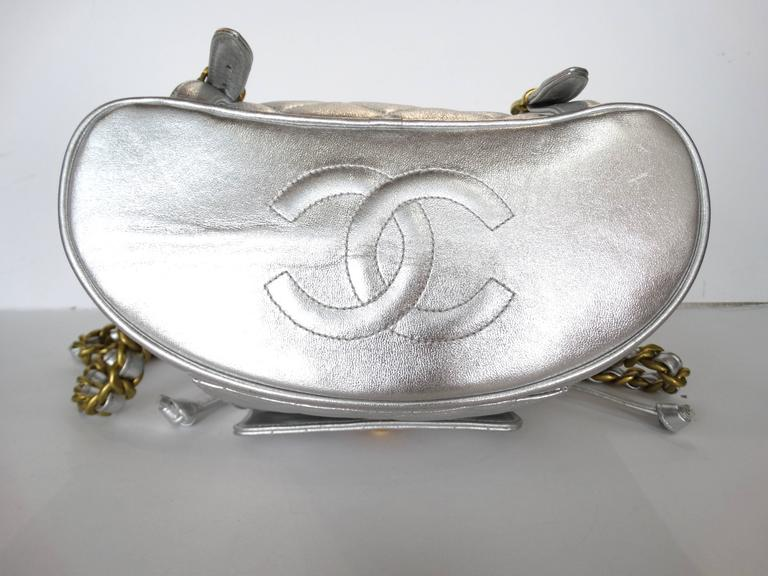 Rare 1994 Chanel Silver Metallic Backpack Bag For Sale 6