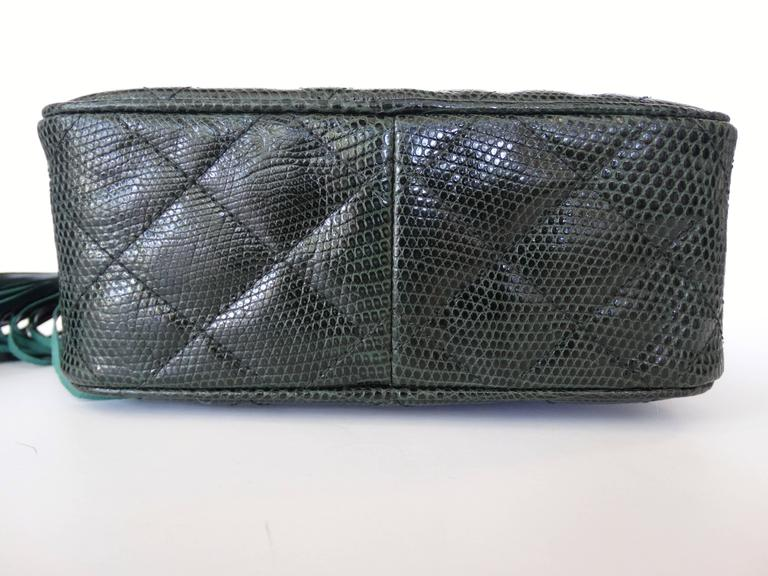 1990s Chanel Green Lizard Skin Quilted Shoulder Bag  9