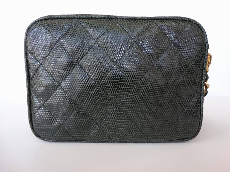 1990s Chanel Green Lizard Skin Quilted Shoulder Bag  7