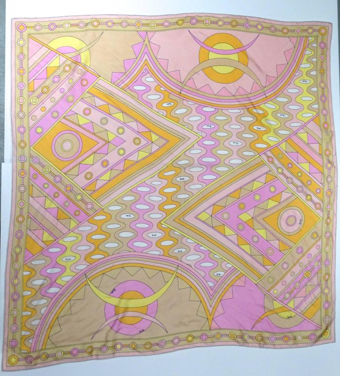 "1970s Emilio Pucci ""Vivara"" Geo Silk Scarf 35"" 5"