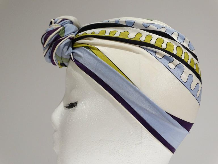 1990s Emilio Pucci Geometric Silk Scarf  In Excellent Condition For Sale In Scottsdale, AZ