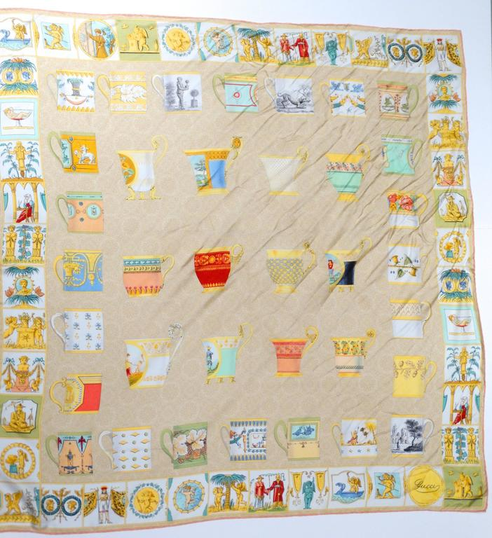 1980s Gucci Classical Tea Cup Silk Scarf  For Sale 2