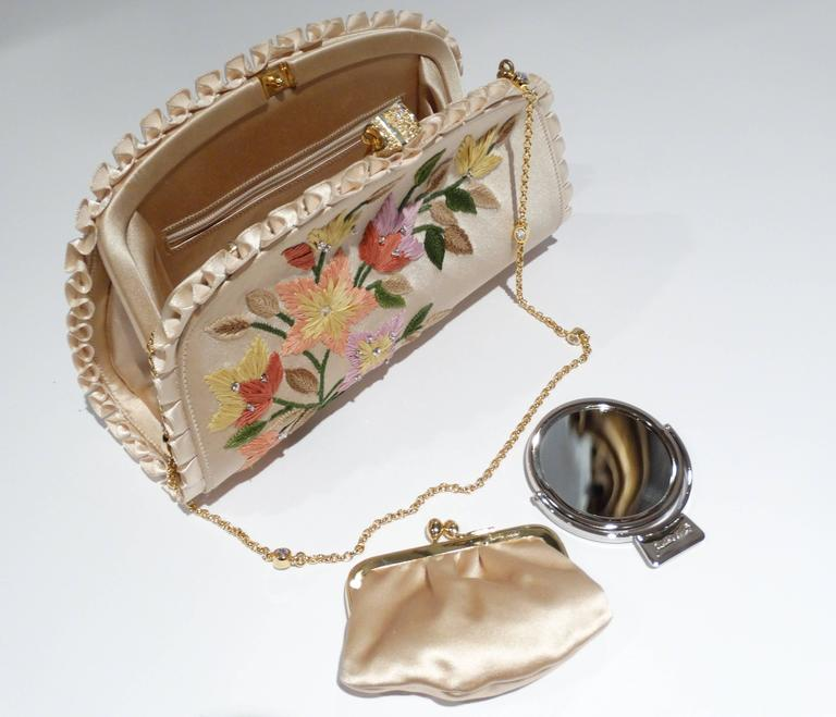 Beige Judith Leiber Floral Embroidered Silk Clutch, 1990s   For Sale