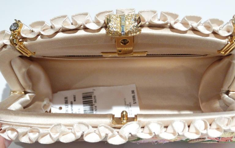 Judith Leiber Floral Embroidered Silk Clutch, 1990s   For Sale 5