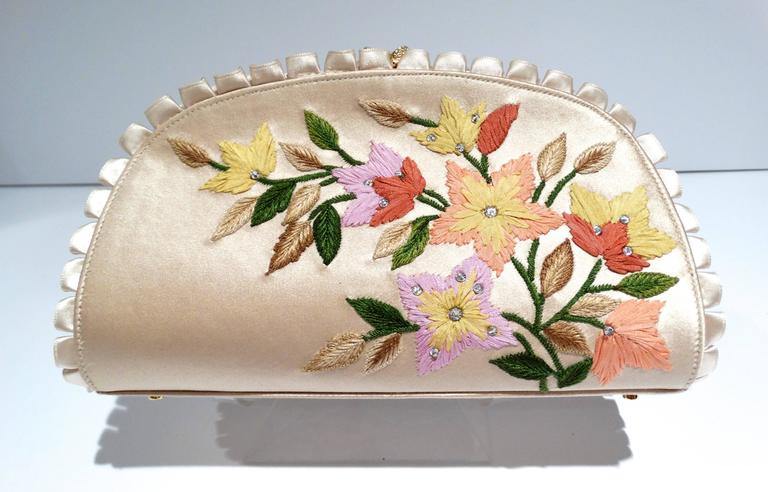 Women's Judith Leiber Floral Embroidered Silk Clutch, 1990s   For Sale
