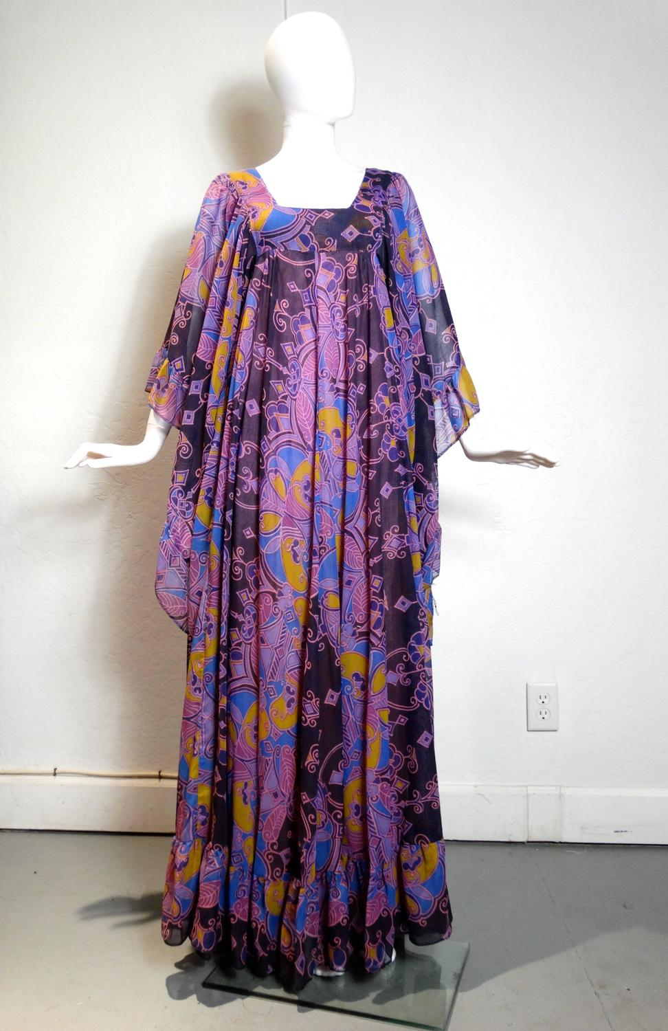 David Silverman Bohemian Angel Wing Maxi Dress, 1970s For Sale at ...