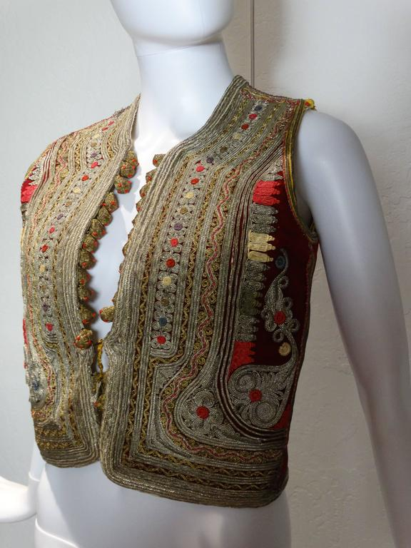 19th C Antique Ottoman Gold Thread Embroidered Vest At