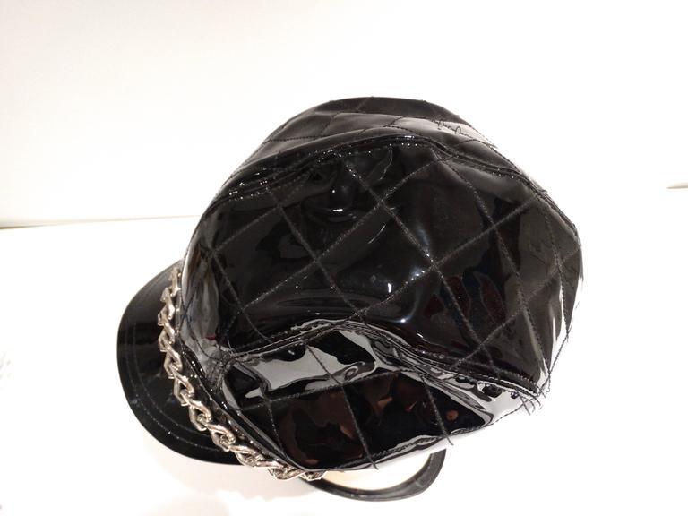Black 1990s Burberry Patient Leather Newsboy Cap  For Sale