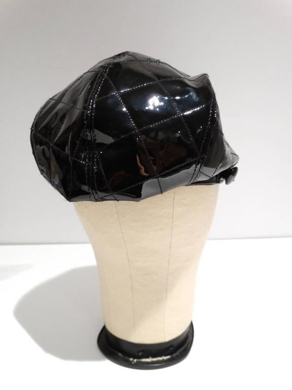 1990s Burberry Patient Leather Newsboy Cap  6