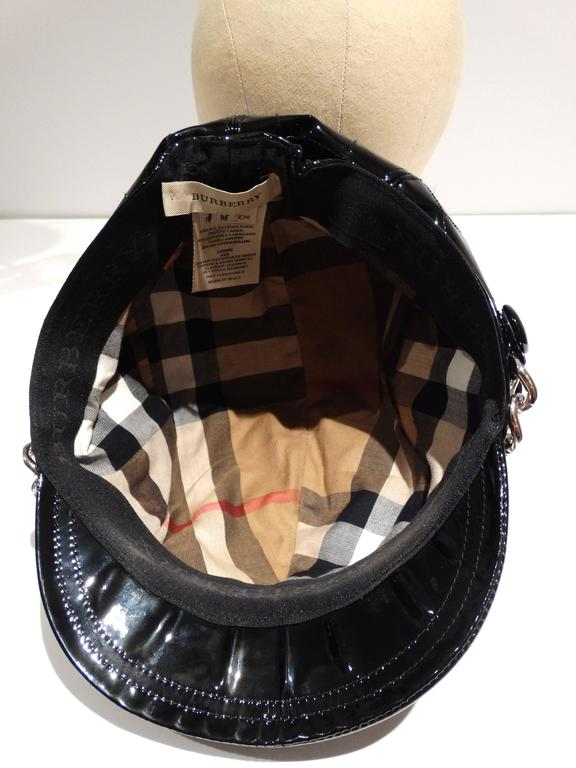 1990s Burberry Patient Leather Newsboy Cap  For Sale 4