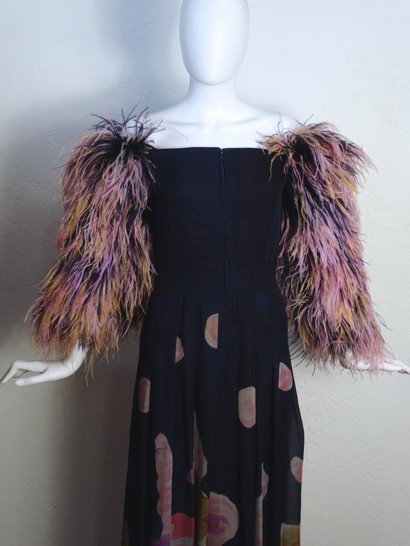 Black 1980s Hanae Mori Hand Painted Maxi Dress with Dramatic Feathered Sleeves For Sale