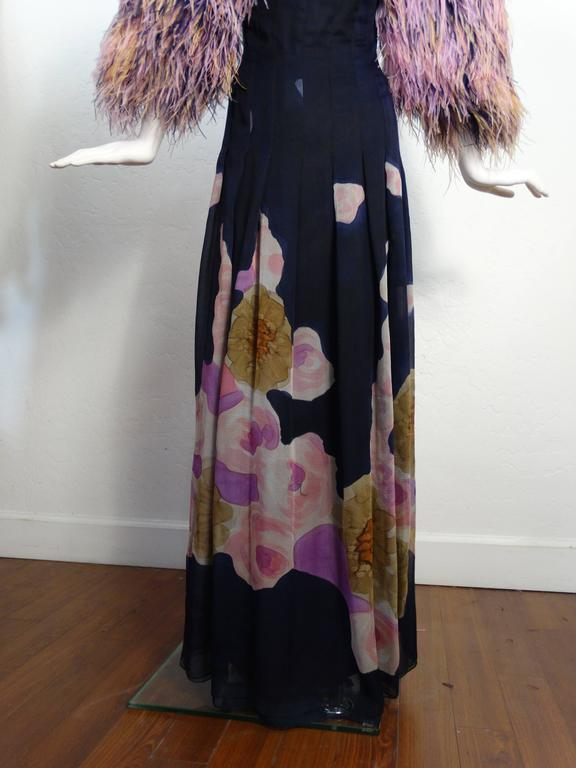 1980s Hanae Mori Hand Painted Maxi Dress with Dramatic Feathered Sleeves For Sale 1