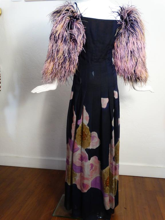 1980s Hanae Mori Hand Painted Maxi Dress with Dramatic Feathered Sleeves In Good Condition For Sale In Scottsdale, AZ