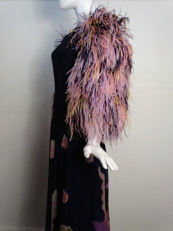 Women's 1980s Hanae Mori Hand Painted Maxi Dress with Dramatic Feathered Sleeves For Sale