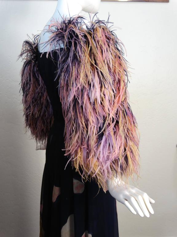 1980s Hanae Mori Hand Painted Maxi Dress with Dramatic Feathered Sleeves For Sale 2