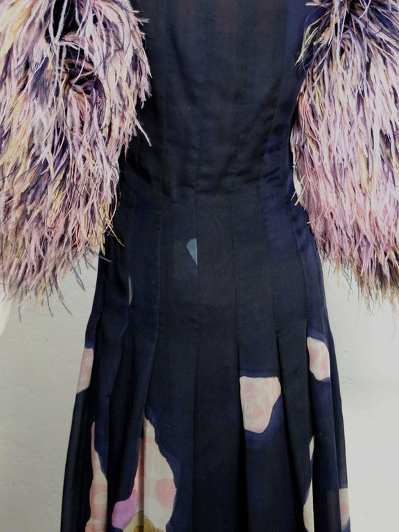 1980s Hanae Mori Hand Painted Maxi Dress with Dramatic Feathered Sleeves For Sale 3