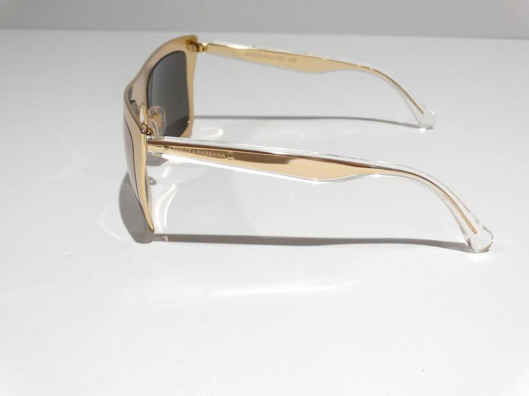 2012 SS Dolce & Gabbana 18ct Plated Gold Mirror Framed Sunglasses 2