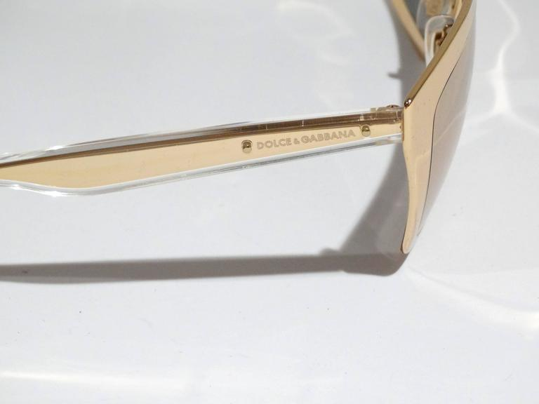 2012 SS Dolce & Gabbana 18ct Plated Gold Mirror Framed Sunglasses For Sale 4