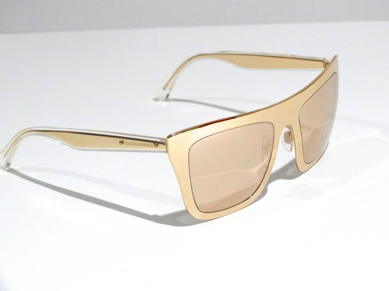 2012 SS Dolce & Gabbana 18ct Plated Gold Mirror Framed Sunglasses For Sale 1