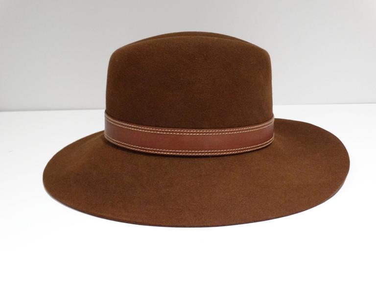 Women's Rare 1970s Gucci G Tobacco Felt Wide Brim Hat  For Sale