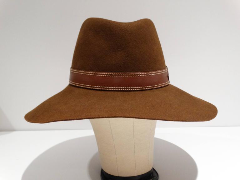 Rare 1970s Gucci G Tobacco Felt Wide Brim Hat  For Sale 2