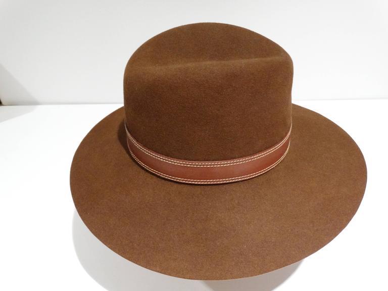 Rare 1970s Gucci G Tobacco Felt Wide Brim Hat  For Sale 4