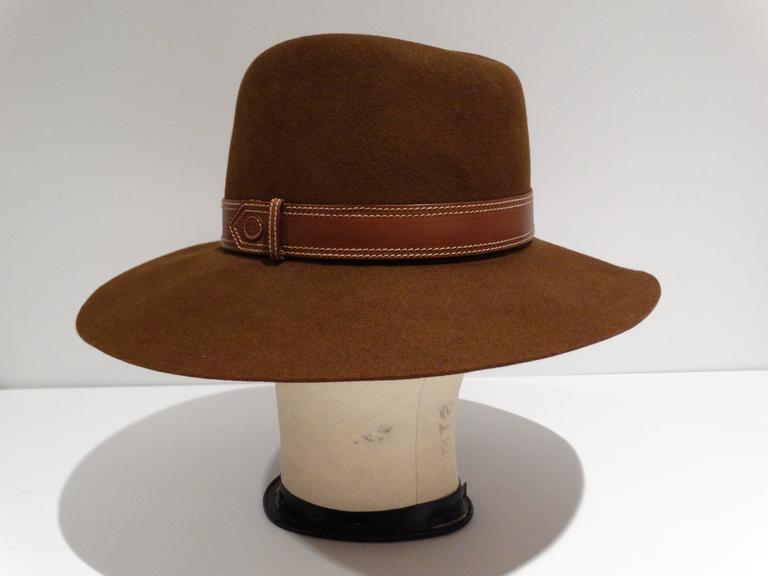 Rare 1970s Gucci G Tobacco Felt Wide Brim Hat  For Sale 5
