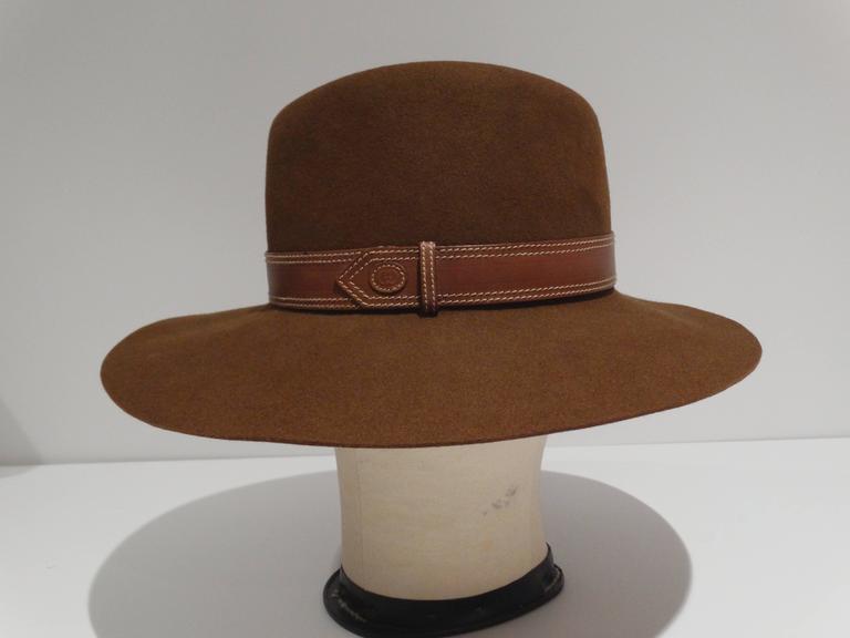 Rare 1970s Gucci G Tobacco Felt Wide Brim Hat  For Sale 3