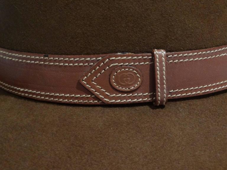Brown Rare 1970s Gucci G Tobacco Felt Wide Brim Hat  For Sale