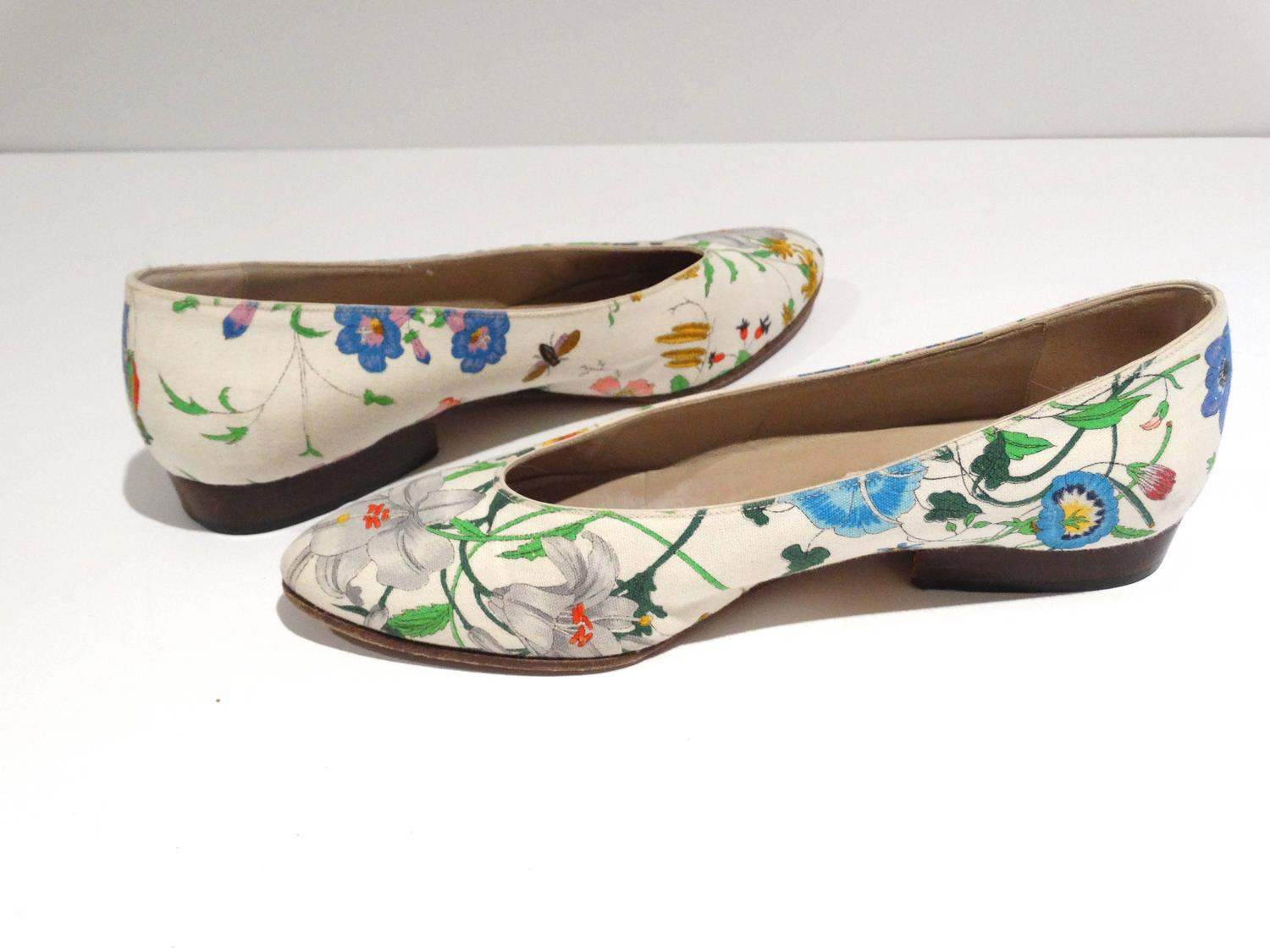 1980s Gucci Quot Flora Quot Print Flats For Sale At 1stdibs