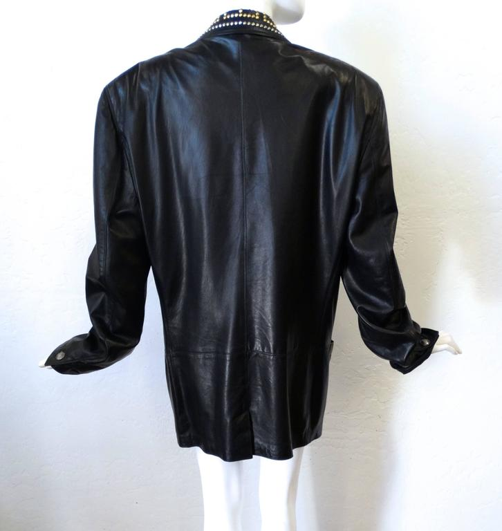 1990s GIANNI VERSACE COUTURE 1992 Black studded GREEK KEY Leather Jacket  4