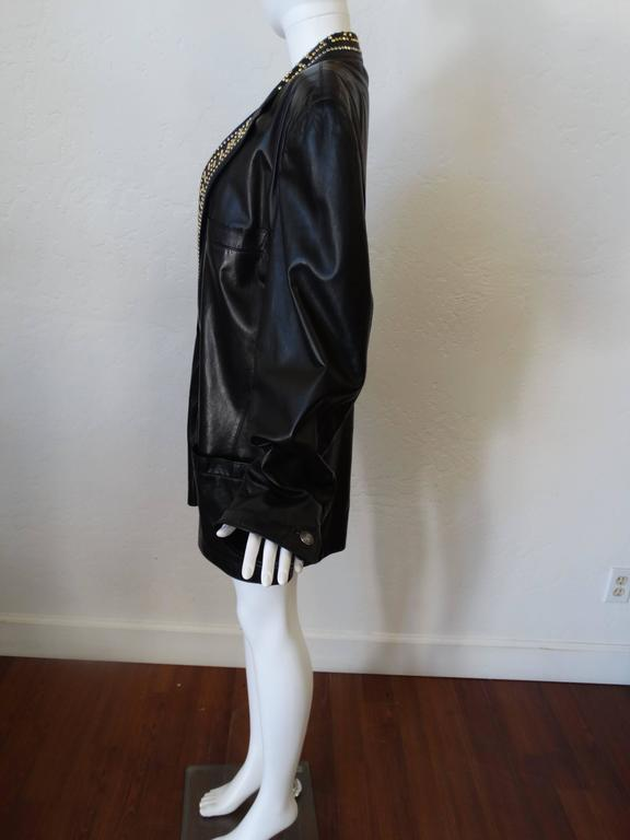 1990s GIANNI VERSACE COUTURE 1992 Black studded GREEK KEY Leather Jacket  5