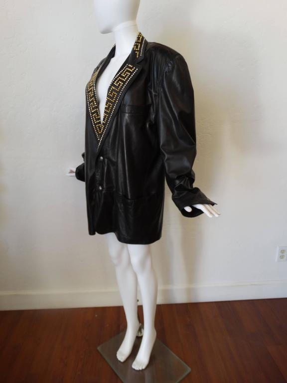 1990s GIANNI VERSACE COUTURE 1992 Black studded GREEK KEY Leather Jacket  6