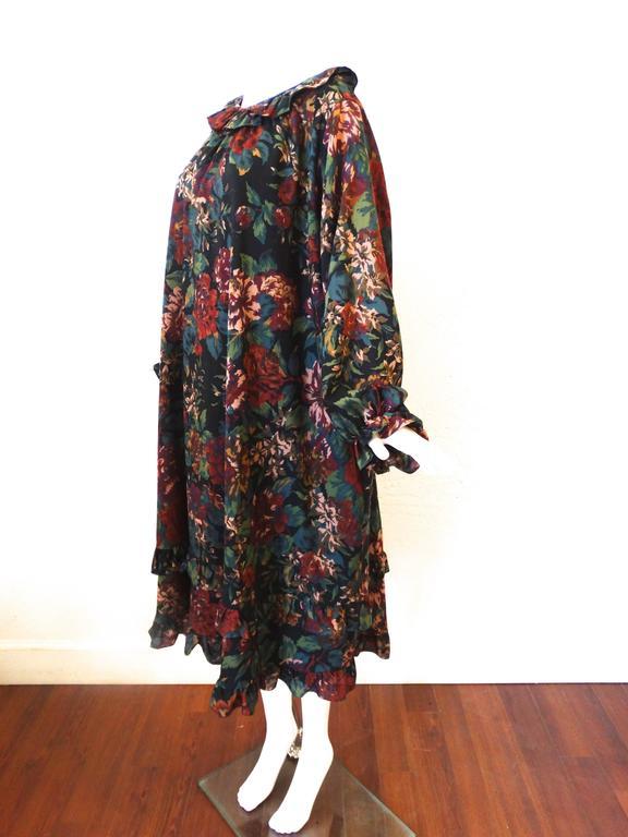 1990s Saint Laurent, Yves Rive Gouche Floral Dress 3