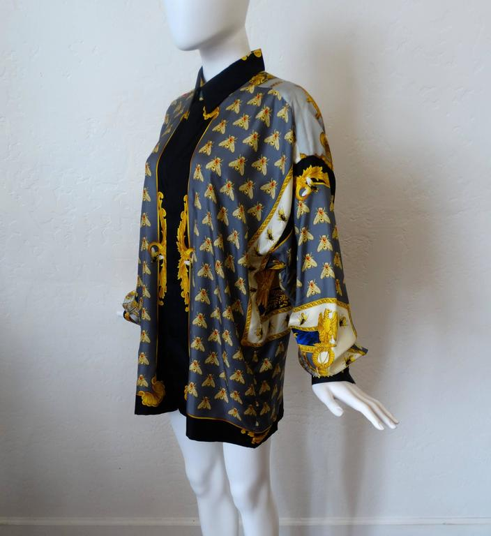 """1990s Gianni Versace """"Imperial Throne """" Print Silk Blouse For Sale 2"""