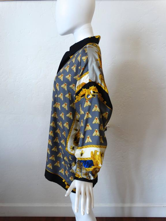 "1990s Gianni Versace ""Imperial Throne "" Print Silk Blouse 4"