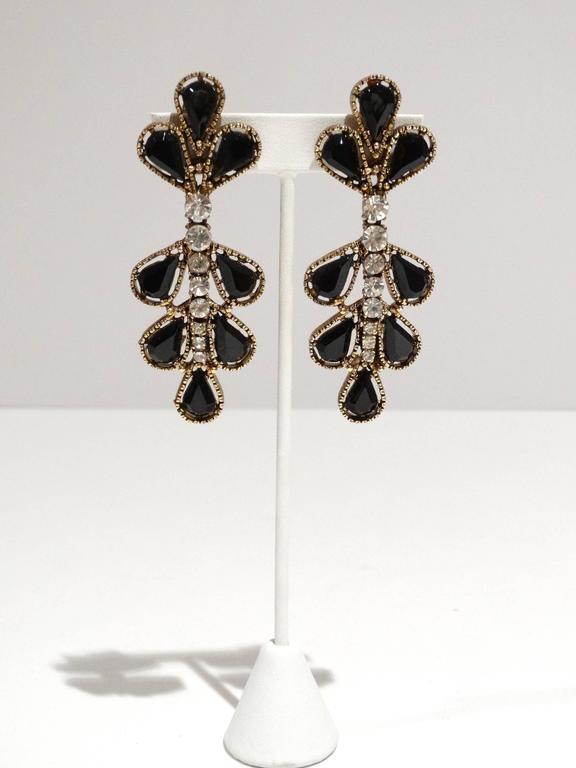 1980s Thelma Deutsch Tear Drop Chandelier Earrings  3