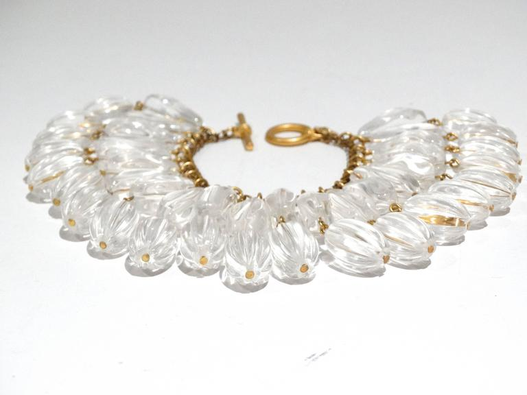 Women's Rare 1980s Runway Anne Klein Couture Lucite Beaded Bracelet For Sale