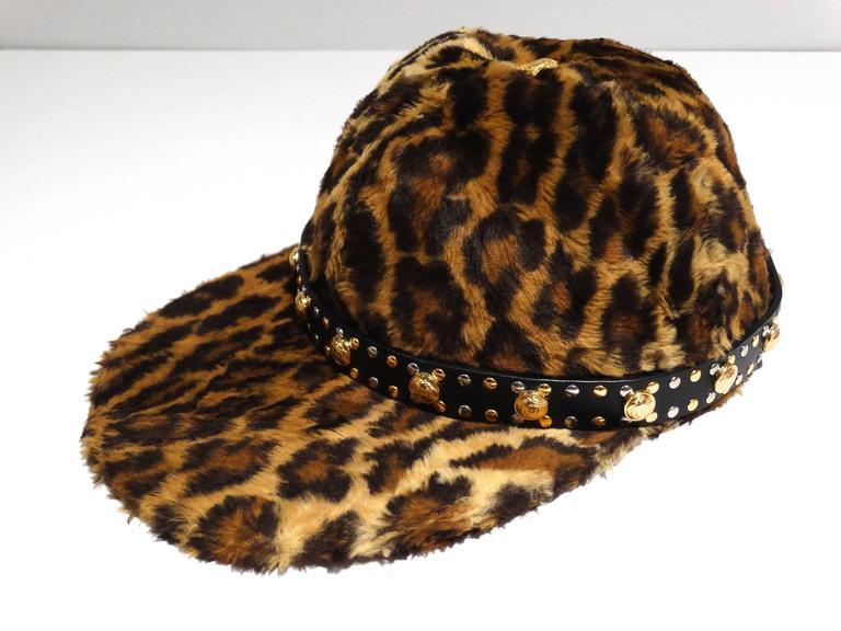 Gianni Versace Faux Leopard Medusa Hat, 1990s   For Sale 1