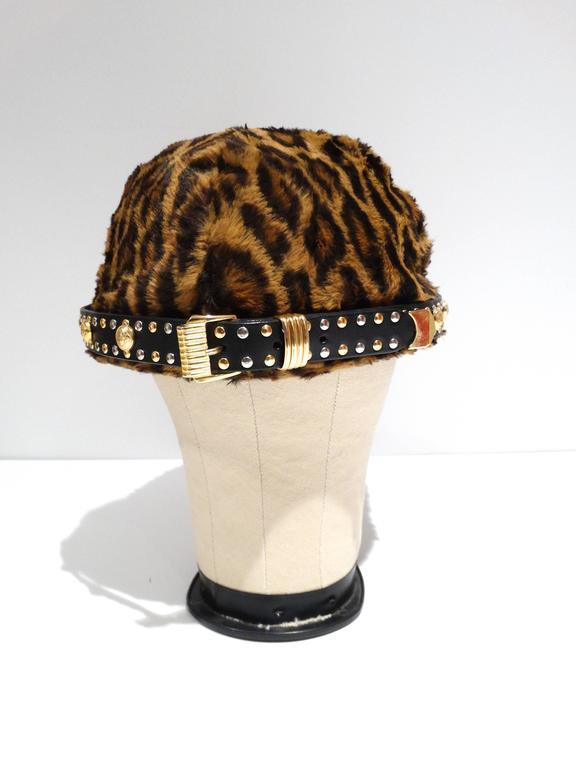 Brown Gianni Versace Faux Leopard Medusa Hat, 1990s   For Sale