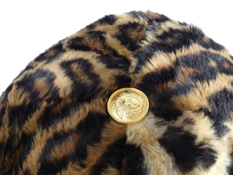 Gianni Versace Faux Leopard Medusa Hat, 1990s   For Sale 4