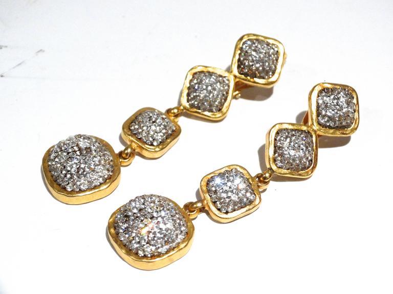 Glamorous 1990s Deanna Hamro Diamente Swarovski Earrings In Good Condition For Sale In Scottsdale, AZ