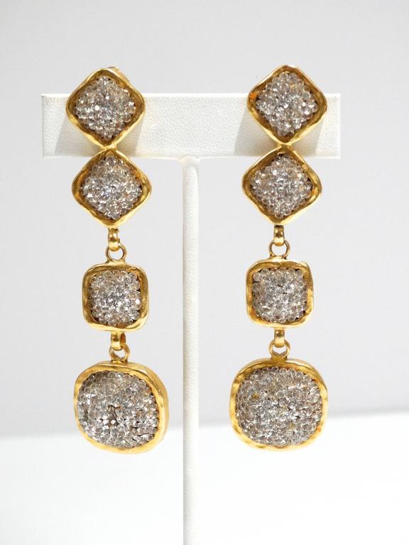 Glamorous 1990s Deanna Hamro Diamente Swarovski Earrings For Sale 3