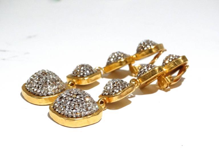 Glamorous 1990s Deanna Hamro Diamente Swarovski Earrings For Sale 2