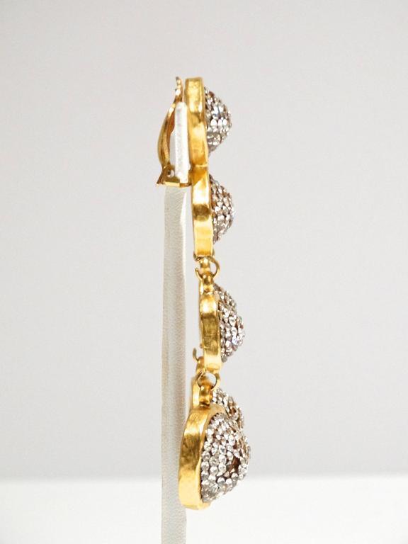 Women's Glamorous 1990s Deanna Hamro Diamente Swarovski Earrings For Sale